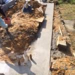 三次市三和町の共同墓地にて、石積み(墓地造成)の基礎コンクリート打ちをしました!!