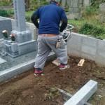 府中市上下町にて、墓地の巻石とお墓の基礎工事をしました!!