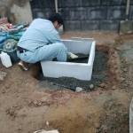 福山市芦田町にて、お墓の整理と巻石工事、お墓の基礎工事をしました!!