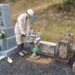 三次市三良坂町にて、追加文字彫刻・墓誌の傾き直しをしました!!