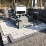 庄原市西城町にて、巻石工事〜デザイン墓石設置までしました!!