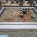 三次市南畑敷町の共同墓地にて、巻石工事とお墓の基礎工事をしました!!