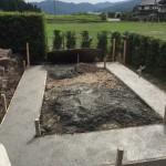 三次市上川立町にて、石積み(造成工事)の基礎コンクリート打ちをしました!!