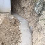 福山市神辺町にて、護岸ブロック積みの基礎工事をしました!!