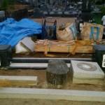 庄原市東城町にて、門柱巻石とお墓の基礎工事をしました!!
