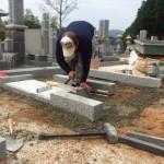 三次市西酒屋町にて、巻石とお墓の基礎工事をしました!!