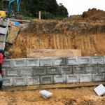 三次市和知町にて、墓地の護岸ブロックを積みました!!