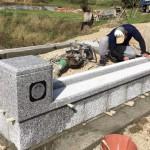 三次市和知町にて、墓地の巻石工事とお墓の基礎工事をしました!!