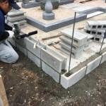 三次市布野町にて、墓地の周りにブロックを積みました!!