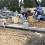 三次市南畑敷町にて、門柱・巻石工事とお墓の基礎工事をしました!!