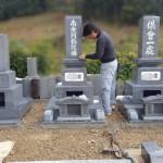 三次市西酒屋町にて、お墓の据え付け(その2)と墓地の中を仕上げしました!!