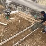 世羅郡世羅町にて、墓地の石積み工事の基礎工事をしました!!