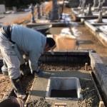 三次市東酒屋町にて、お墓の基礎工事(納骨室)やりかえ・追加文字彫刻をしました!!